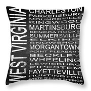 Subway West Virginia State Square Throw Pillow