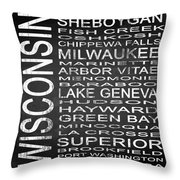 Subway Wisconsin State 2 Square Throw Pillow