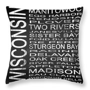 Subway Wisconsin State Square Throw Pillow
