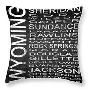 Subway Wyoming State Square Throw Pillow