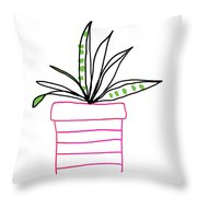 Succulent In A Pink Pot- Art By Linda Woods Throw Pillow by Linda Woods