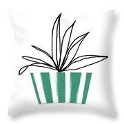 Succulent In Green Pot 3- Art By Linda Woods Throw Pillow