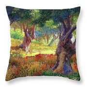 Poppies And Olive Trees Throw Pillow