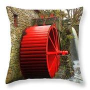 Sudbury Grist Mill Water Wheel Throw Pillow
