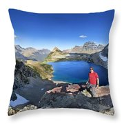 Sue Lake Overlook 2 - Glacier National Park Throw Pillow