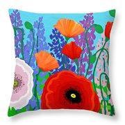 Sue's Flower Bed Throw Pillow
