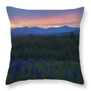 Sugar Hill Lupines And Presidential Range At Dawn Throw Pillow