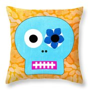 Sugar Skull Blue And Orange Throw Pillow by Linda Woods