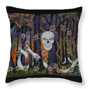 Sugar Skull Forest Throw Pillow