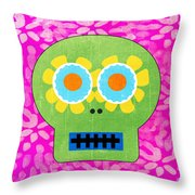 Sugar Skull Green And Pink Throw Pillow by Linda Woods