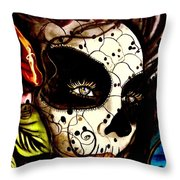 Sugar Skull In Blue  Throw Pillow