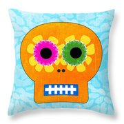Sugar Skull Orange And Blue Throw Pillow