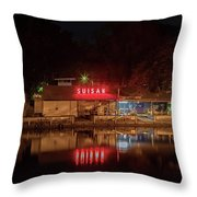 Suisan Fish Market At Night Throw Pillow