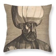 Suleyman The Magnificent , Engraved By Melchior Lorck Throw Pillow