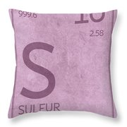 Sulfur Element Symbol Periodic Table Series 016 Throw Pillow