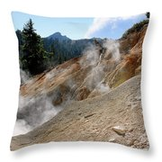 Sulfur Works In Lassen Volcanic Park Throw Pillow by Christine Till