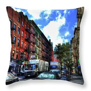 Sullivan Street In Greenwich Village Throw Pillow by Randy Aveille