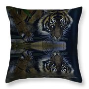 Sumatran Tiger Reflection Throw Pillow