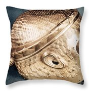 Sumerian Gold Helmet Throw Pillow