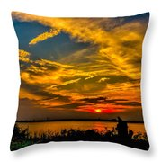 Summer Sunset Over The Delaware River Throw Pillow