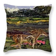 Summer And Horse Statue Throw Pillow