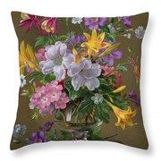 Summer Arrangement In A Glass Vase Throw Pillow