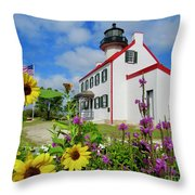 Summer At East Point Light Throw Pillow