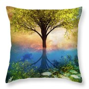 Summer At The Reef Throw Pillow