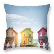 Summer Beach Huts By The Seashore Throw Pillow