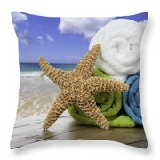 Summer Beach Towels Throw Pillow by Amanda Elwell