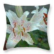 White Tiger Lilies  Throw Pillow