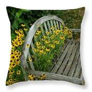 Summer Bench Throw Pillow