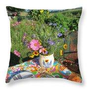 Summer Breakfast In The Garden Throw Pillow