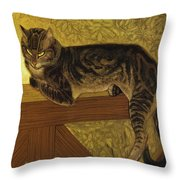 Summer Cat On A Balustrade Throw Pillow