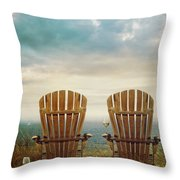 Summer Chairs Sand Dunes And Ocean In Background Throw Pillow