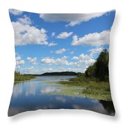 Summer Cloud Reflections On Little Indian Pond In Saint Albans Maine Throw Pillow