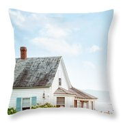 Summer Cottage And Flowers By The Ocean Throw Pillow