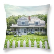 Summer Cottage And White Picket Fence With Flowers Throw Pillow