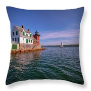 Summer Day At Rockland Breakwater Throw Pillow