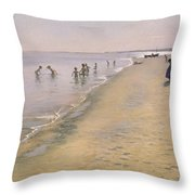 Summer Day At The South Beach Of Skagen Throw Pillow
