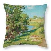 Summer Day By The Stream Throw Pillow