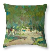 Summer Day In City Park. Trees Throw Pillow
