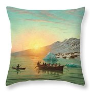 Summer Day In Greenland With An Umiak A Fiord Throw Pillow