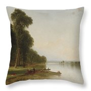 Summer Day On Conesus Lake, 1870 Throw Pillow