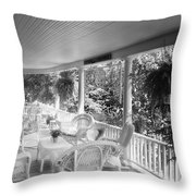Summer Day On The Victorian Veranda Bw 03 Throw Pillow