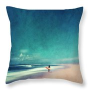 Summer Days - Abstract Seascape With Surfer Throw Pillow