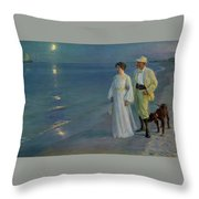 Summer Evening On The Beach At Skagen The Artist And His Wife Throw Pillow