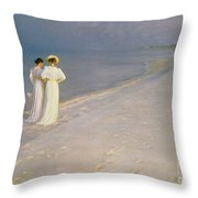Summer Evening On The Skagen Southern Beach With Anna Ancher And Marie Kroyer Throw Pillow
