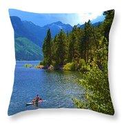 Summer Family Kayak Fun Throw Pillow