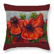 Summer Field Of Poppies Throw Pillow by Vickie Scarlett-Fisher